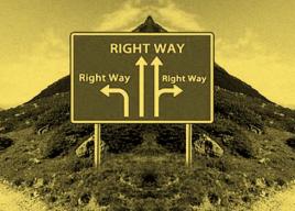 Imagen de cartel de tráfico con distintas direcciones correctas
