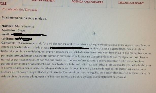Imagen de la denuncia presentada en una web