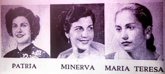 Retrato en blanco y negro de las tres hermanas Mirabal