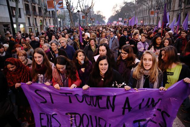 Imagen de una manifestación del 8M en Barcelona