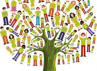 Imagen de un árbol cuyas hojas son personas