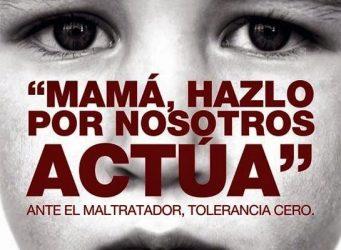 cartel institucional contra el maltrato con la imagen de un niño