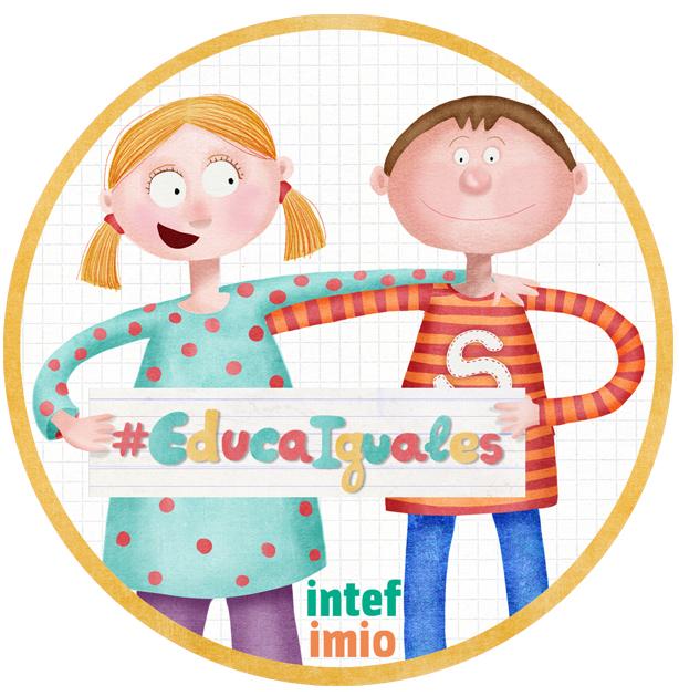 Logo del curso, niña y niño sujetando #educaiguales