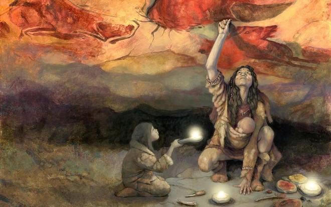 Ilustración de una mujer pintando en Altamira