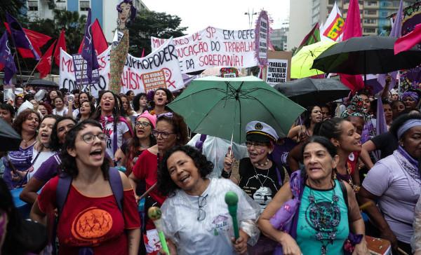 Imagen de una concentración el 8M en Sao Paulo