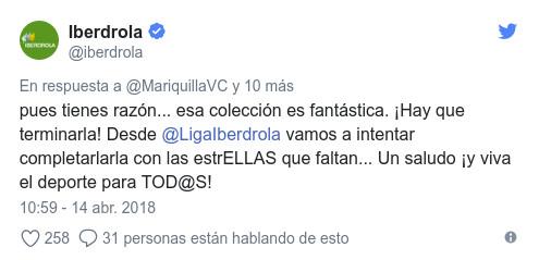 Tuit de Iberdrola demostrando interés por el proyecto de María
