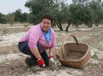 Una mujer trabajando el campo