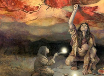 Ilustración que muestra a una mujer pintando en Altamira