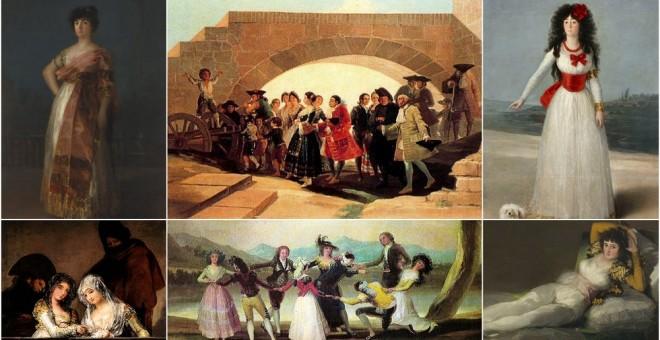 varios cuadros de Goya que representan mujeres