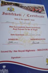 imagen de un certificado de virginidad en inglés