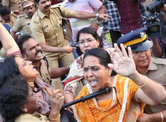 imagen de varias mujeres en las protestas