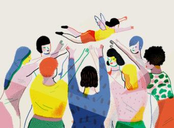ilustración de una mujer alada que vuela sobre otras mujeres