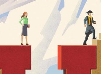 dibujo de un hombre que puede subir por una escalera y una mujer que no