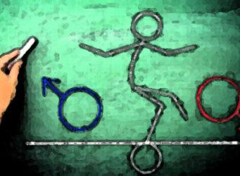 dibujo humano entre los dos símbolos de géneros