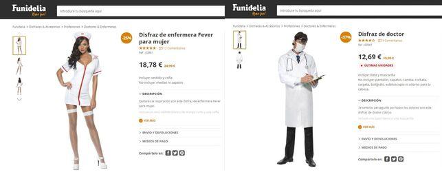 Comparación disfraces femenino y masculino de enfermero/a