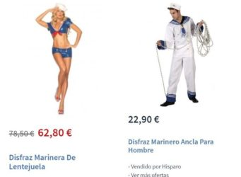 Comparación disfraces femenino y masculino de marinero/a