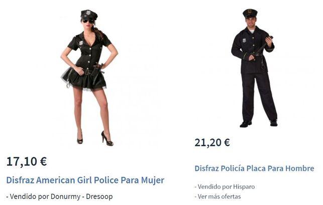Comparación disfraces femenino y masculino de policía