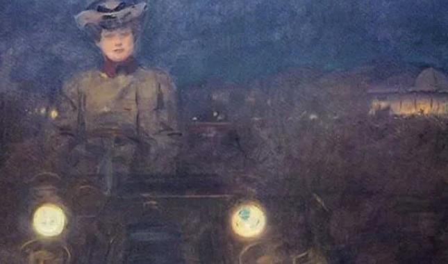 pintura de una mujer conduciendo