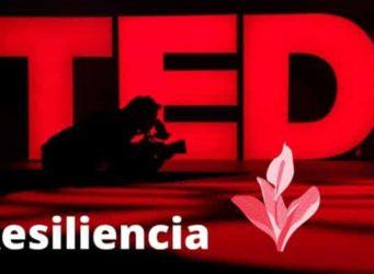 Logo TED con la palabra resiliencia