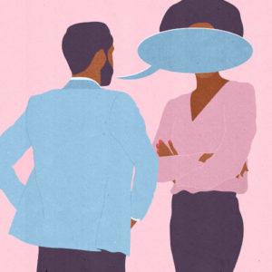 dibujo de un hombre que tapa a una mujer con su discurso