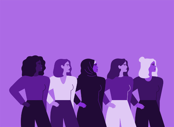 varias mujeres con fondo violeta