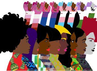 ilustración representando a mujeres diferentes con el puño levantado