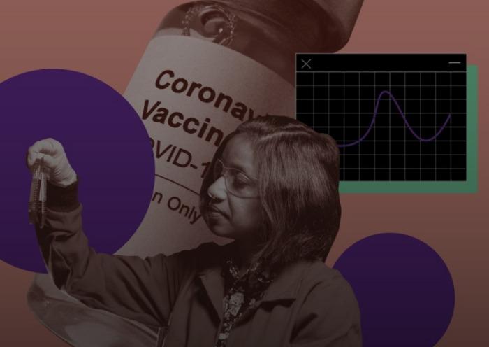 Una mujer científica ante una gráfica y la imagen de la vacuna covid-19