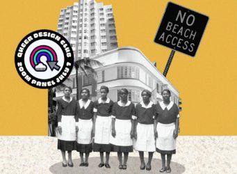 un grupo de sirvientas negras delante de un hotel