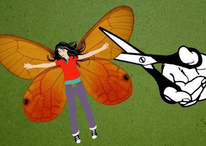 imagen de una tijera que corta las alas a una mariposa-mujer
