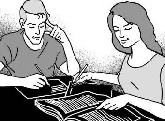 Imagen de dos jóvenes estudiando