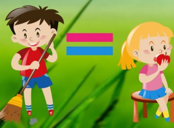 Dibujo de una niña y un niño con el símbolo igual