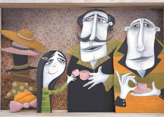 Ilustración de una niña con sus dos papás
