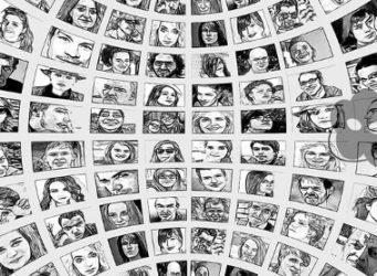 mosaico de retratos de personas