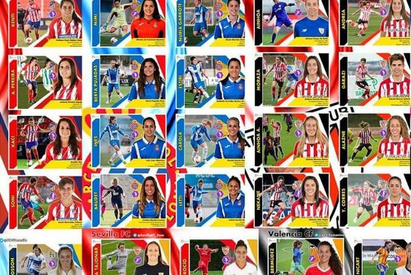 imagen de los cromos de mujeres futbolistas