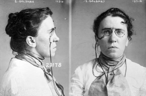 Imagen de la foto policial de Emma Goldman