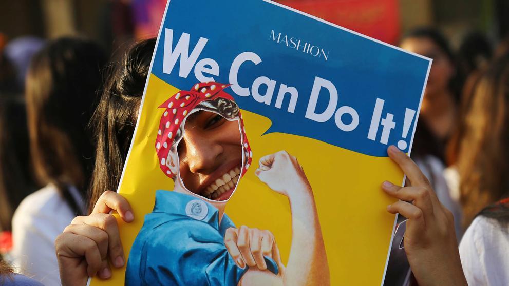 Imagen de una pancarta con el texto We can do it