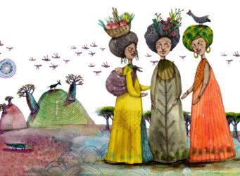 Dibujo de tres mujeres con ropa tradicional africana
