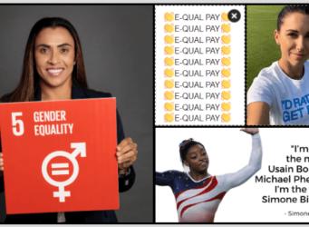 montaje de fotos de los tres momentos, Marta, Simone Biles y #equalpay