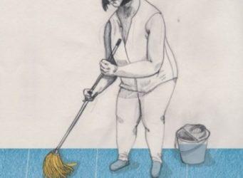 dibujo de una mujer fregando el suelo