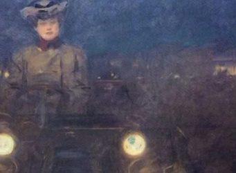 cuadro de una mujer conduciendo